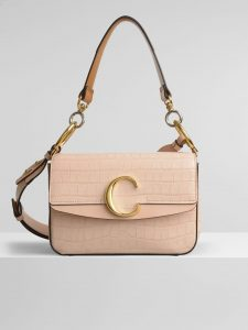 Chloe Cement Pink Embossed Croco Effect C Small Double Carry Bag