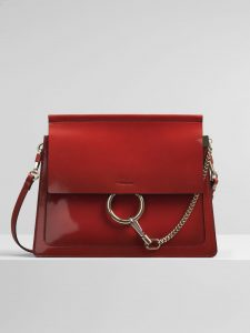 Chloe Earthy Red Spazzolato Sfumato Faye Medium Shoulder Bag