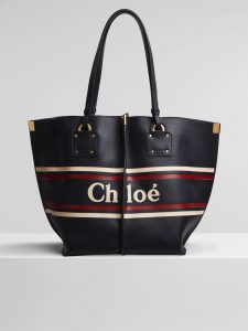 Chloe Full Blue Logo Print Vick Medium Tote Bag