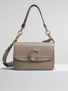 Chloe Motty Grey C Small Double Carry Bag