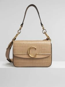 Chloe Nut Embossed Croco Effect C Small Double Carry Bag