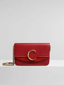 Chloe Plaid Red C Clutch with Chain Bag