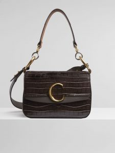 Chloe Profound Brown Embossed Croco Effect C Small Double Carry Bag