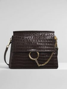 Chloe Profound Brown Embossed Croco Effect Faye Medium Shoulder Bag