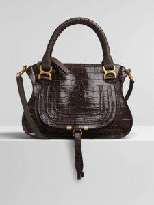 Chloe Profound Brown Embossed Croco Effect Marcie Top Handle Bag