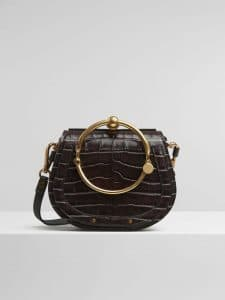 Chloe Profound Brown Embossed Croco Effect Nile Small Bracelet Bag