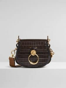 Chloe Profound Brown Embossed Croco Effect Tess Small Bag
