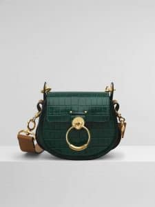 Chloe Wood Green Embossed Croco Effect Tess Small Bag