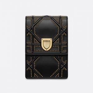 Dior Black Diorama Vertical Clutch Bag