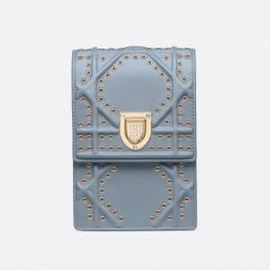 Dior Sky Blue Diorama Vertical Clutch Bag