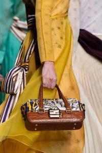 Fendi Purple/Brown Floral/Crocodile Top Handle Bag - Fall 2019