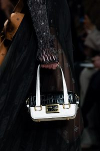 Fendi White/Black Crocodile Top Handle Bag - Fall 2019