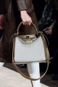 Fendi White/Brown Perforated Peekaboo Bag - Fall 2019