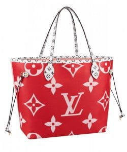Louis Vuitton Red Monogram Geant Neverfull Messenger Bag