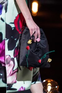 Prada Black Floral Embellished Mini Drawstring Bag - Fall 2019