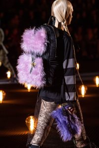 Prada Black/Purple Nylon/Fur Backpack and Clutch Bag - Fall 2019