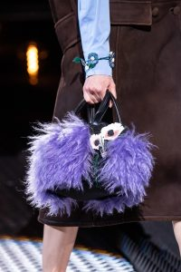 Prada Black/Purple Nylon/Fur Small Top Handle Bag - Fall 2019