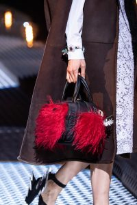 Prada Black/Red Nylon/Fur Small Top Handle Bag - Fall 2019