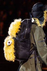 Prada Black/Yellow Nylon/Fur Backpack Bag - Fall 2019