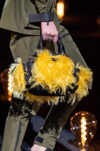 Prada Black/Yellow Nylon/Fur Small Top Handle Bag 2 - Fall 2019