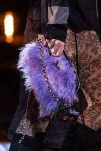 Prada Black/Purple Nylon/Fur Small Clutch Bag - Fall 2019
