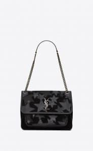 Saint Laurent Black Suede Patchwork Stars Niki Medium Bag