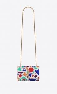 Saint Laurent Optic White Printed Kate Small Bag