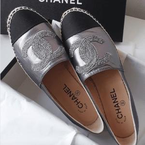 Chanel Silver/Black Espadrilles