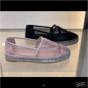 Chanel Pink and Black Mesh Espadrilles