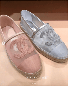 Chanel Pink and Light Blue Mesh Espadrilles