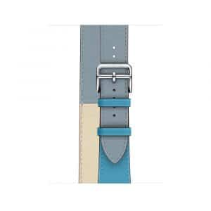 Apple Watch Hermès - 40mm Bleu Lin:Craie:Bleu du Nord Swift Leather Double Tour