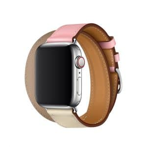Apple Watch Hermès - 40mm Rose Sakura:Craie:Argile Swift Leather Double Tour 2