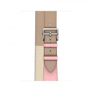 Apple Watch Hermès - 40mm Rose Sakura:Craie:Argile Swift Leather Double Tour