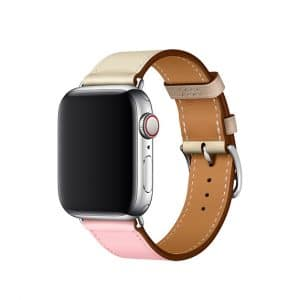 Apple Watch Hermès - 40mm Rose Sakura:Craie:Argile Swift Leather Single Tour 2