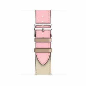 Apple Watch Hermès - 40mm Rose Sakura:Craie:Argile Swift Leather Single Tour
