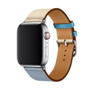 Apple Watch Hermès - 44mm Bleu Lin:Craie:Bleu du Nord Swift Leather Single Tour 2