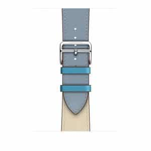 Apple Watch Hermès - 44mm Bleu Lin:Craie:Bleu du Nord Swift Leather Single Tour