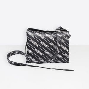 Balenciaga Black All Over Logo Flap S Bag