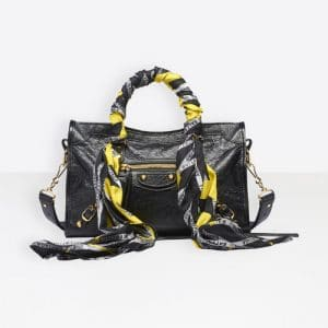 Balenciaga Black Classic Gold City S Scarf Bag