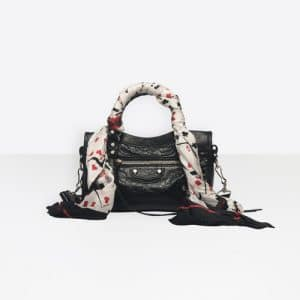 Balenciaga Black Classic Silver Mini City Scarf Bag