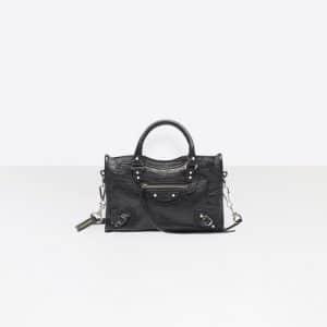 Balenciaga Black Classic Silver Nano City Logo Strap Bag