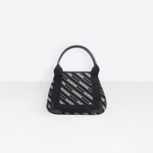 Balenciaga Black/White Stripe Logo Navy Cabas XS Bag