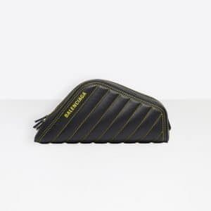 Balenciaga Black/Yellow Quilted Car Clutch S Bag