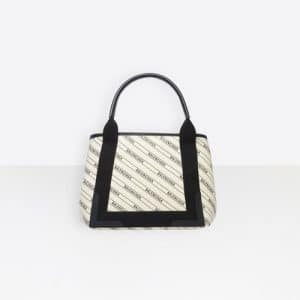Balenciaga Natural/Black Stripe Logo Navy Cabas S Bag