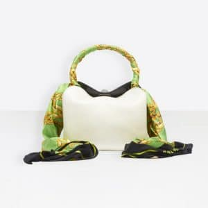 Balenciaga White/Green Flap Scarf XS Bag