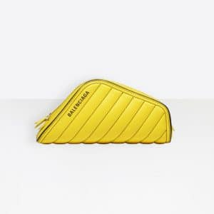 Balenciaga Yellow Sun Quilted Car Clutch S Bag