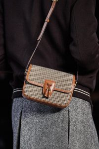Celine Tan Houndstooth Print Flap Bag - Fall 2019