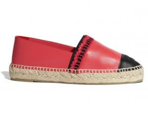 Chanel Red/Black Lambskin Espadrilles