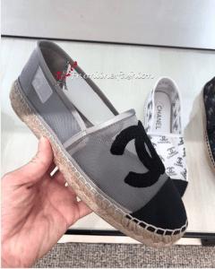 Chanel Silver Mesh Espadrilles