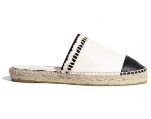 Chanel White/Black Lambskin Slip-On Espadrilles